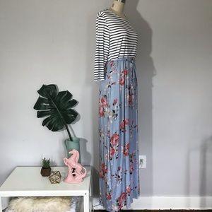 Pinkblush Dresses - Pinkblush • Stripes & Flowers Maxi Dress